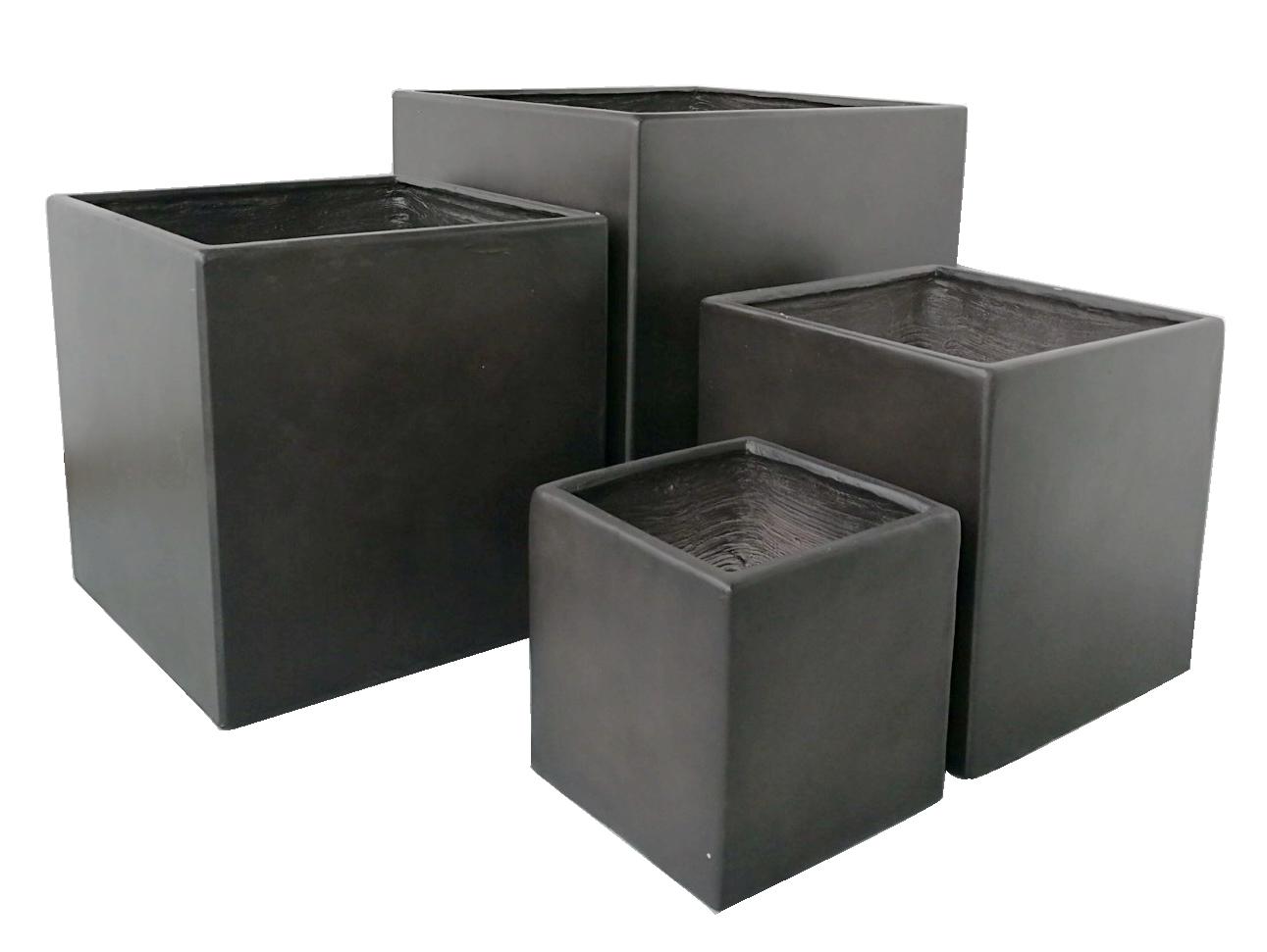 Pflanzkübel Steinoptik.Premium Plant Pot Set Lounge Cube Pot Set Black Outdoor 4 X Plant Pots Square 26 37 45 55cm