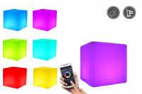 7even LED Design Cube 30 / LED Leucht Sitzwürfel / WASSERDICHT / Akku und RF-Fernbedienung, 30cm