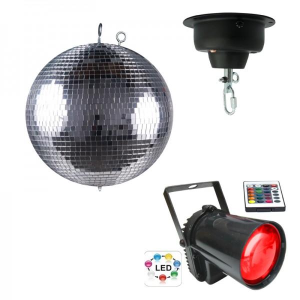 LED-Discokugel-Set 30cm mit Motor und LED-Spot