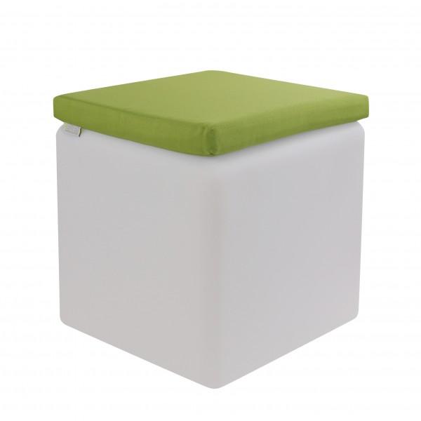 LED Design Cube 40cm mit grünem wasserfesten Kissen!