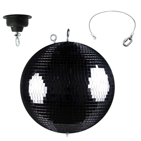 Spiegelkugelset schwarz 50cm mit Motor und LED-Spot mit Fernbedienung +Sicherheitsmotor mit 2ter Öse