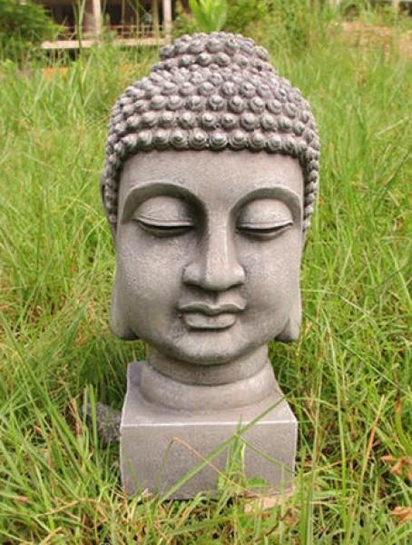 Buddha Kopf ca. 32cm - robust und wetterfest in original Steinoptik