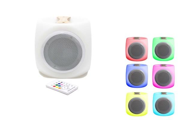 Mobiler Outdoor LED-Lautsprecher mit Holzgriff, Bluetooth, Akku, Farbwechsel sowie Fernbedienung