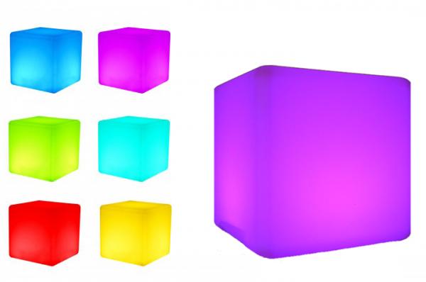 7even LED Design Cube 50/ LED Leucht Sitzwürfel / In und Outdoor / Akku und Fernbedienung (IR) 50cm