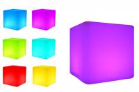 7even LED Design Cube 60 / LED Leucht Sitzwürfel / WASSERDICHT / Akku und RF-Fernbedienung 1.0, 60cm