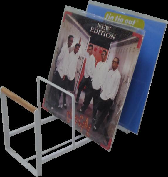 """Schallplatten Ständer / Vinyl Halter für LPs, Maxis 12"""" in weiß und Holz Optik XL ca. 35 cm lang!"""