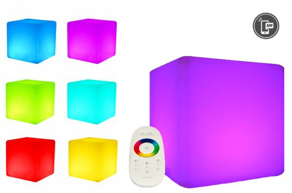 7even LED Design Cube 50cm / LED-Sitzwürfel, In & Outdoor, RF Fernbedienung und APP Steuerung mögli