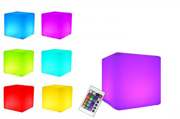 LED Design Cube 50 / LED Leuchtwürfel Bundle mit Wasserdichten Sitzkissen Braun 50cm