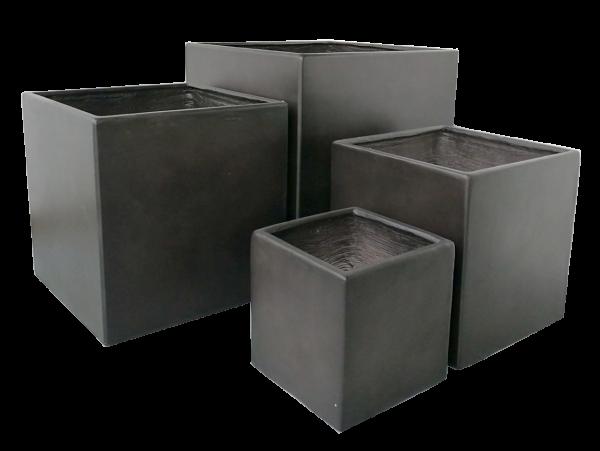 Premium Pflanzkübel Set - Lounge Cube von 7EVEN | Blumentopf eckig Pflanzgefäße Blumenkasten Pflanztöpfe Blumenkübel Pflanztrog Steinoptik Blumentrog Pflanzkasten Übertopf | Gartengestaltung modern