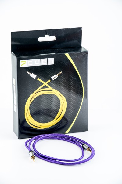 7even Aux 3,5mm Mini-Klinken und Kopfhörer Textil Kabel, Lila