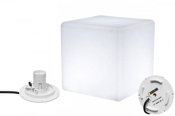 7even Design Cube-Leuchte 50 x 50 x 50cm mit E-27 Fassung und 220V Anschluss / Indoor & IP67 Outdoor