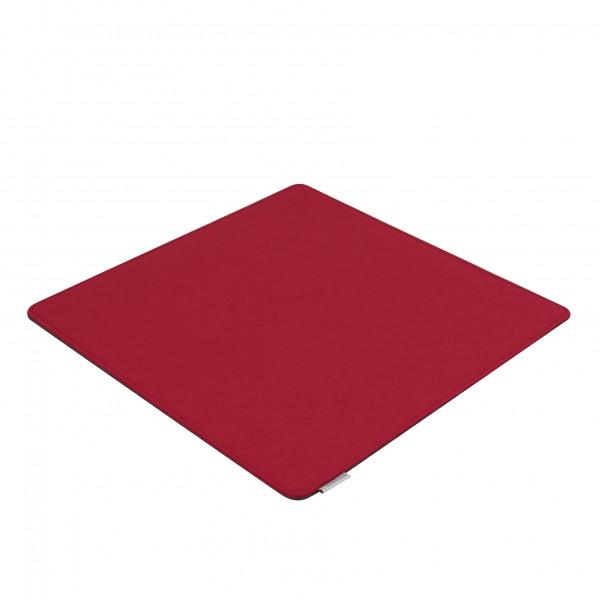 Filz Auflage 50 x 50 cm für z.B. Cube Hocker Rot/Grau - Beidseitig 4mm/4mm