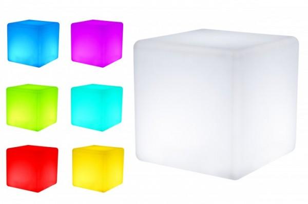 7even LED Design Cube 40 / LED Leucht Sitzwürfel / In und Outdoor / Akku und Fernbedienung (IR) 40cm