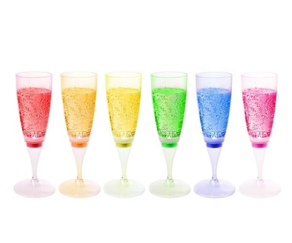 Magisches LED Sektglas / Champagner Glas, 6er Set, Party beleuchtetes Glas 150ml