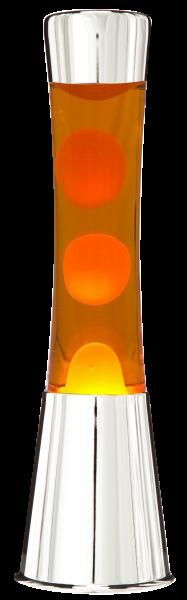 Lavalampe 40cm gelb-orange / Magma Lampe Chrom gelb-orange