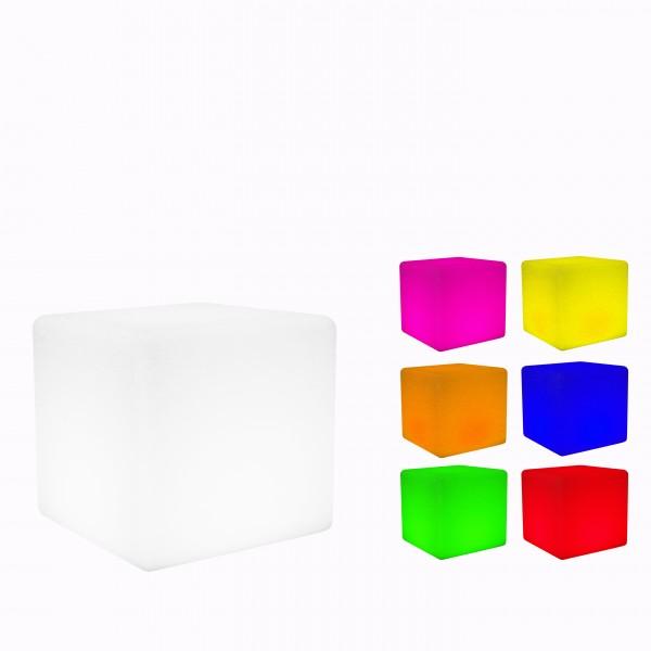 7even LED Design Cube 30 / LED Leucht Sitzwürfel / WASSERDICHT / Akku und IR-Fernbedienung, 30cm
