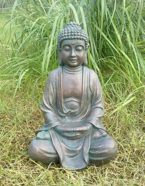 Große Buddha Figur 43 x 30 x 24 cm - robust und wetterfest in original Steinoptik
