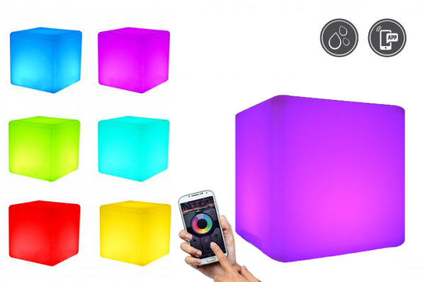 7even LED Design Cube 40/ LED Leucht Sitzwürfel / WASSERDICHT / Akku und Fernbedienung (RF), 40cm