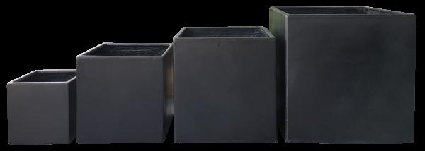 Moderne Gartengestaltung - mit dem Premium Pflanzkübel Set - Lounge Cube Pot Set black outdoor & indoor von 7EVEN | 4 exklusive & hochwertige Pflanzgefäße für Garten, Terrasse, Balkon, Wintergarten