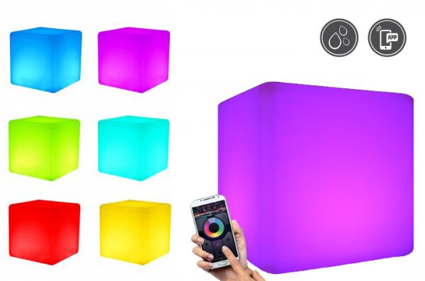 7even LED Design Cube 50/ LED Leucht Sitzwürfel / WASSERDICHT / Akku und Fernbedienung (RF), 50cm