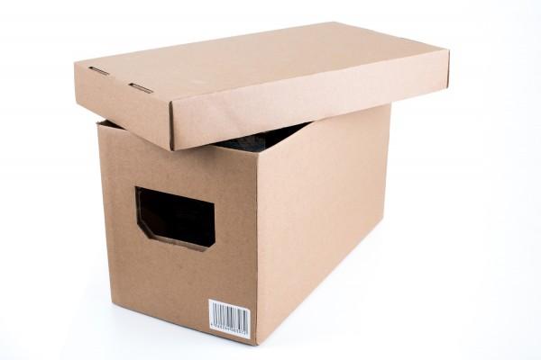 Karton Box mit Deckel, tragbar, stapelbar