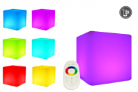7even LED Design Cube 30cm / LED-Sitzwürfel, In & Outdoor, RF Touch Fernbedienung und Tablet/Handy