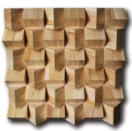 Holz 3D Diffusor Panel 600 x 600 x 85mm