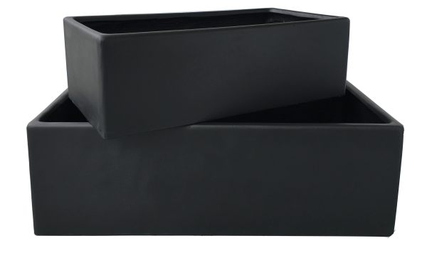 Long Lounge Pot Set schwarz / 2er Pflanztopf Set länglich 100 x 50 x 32cm & 80 x 40 x 25cm