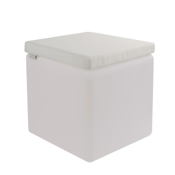 LED Design Cube 50 / LED Leuchtwürfel Bundle mit Wasserdichten Sitzkissen Creme-Weiß 50cm